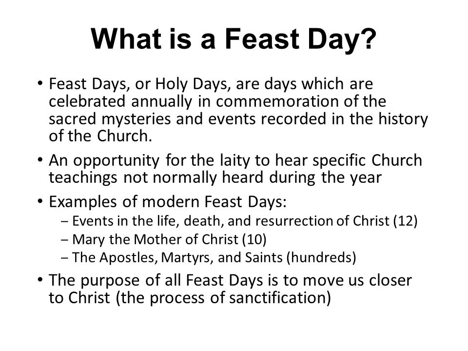 Catholic Feast Days Terry Costigan  What Is A Feast Day  Feast