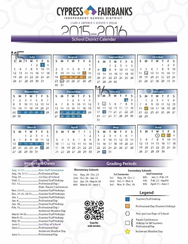 Cy Fair Isd 2015 2016 Calendar