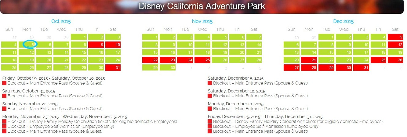 Disneyland Southern California P Blockout Dates 2016