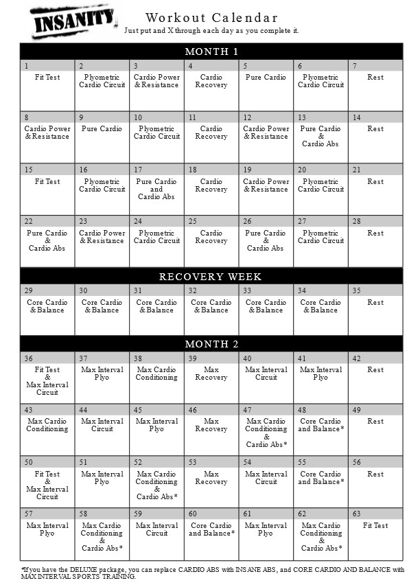 Download The Insanity Workout Calendar