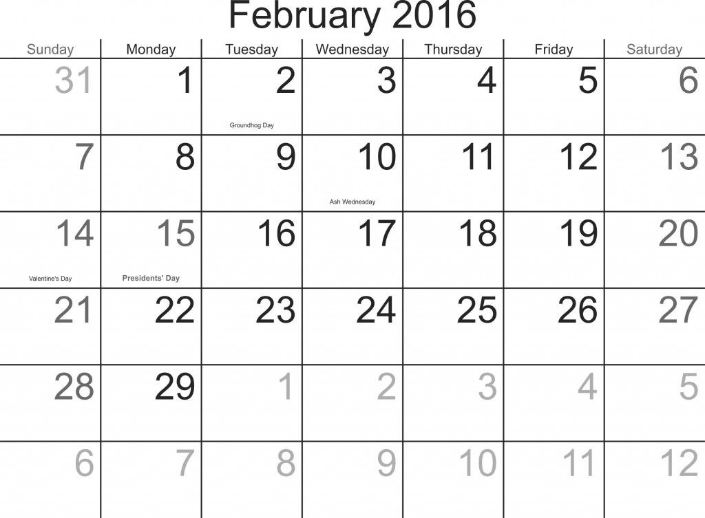 February 2016 Printable Blank Calendars