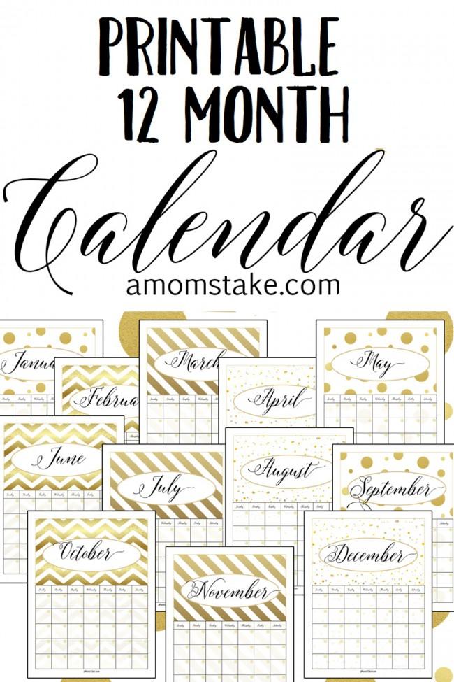 Free Printable 12 Month Calendar