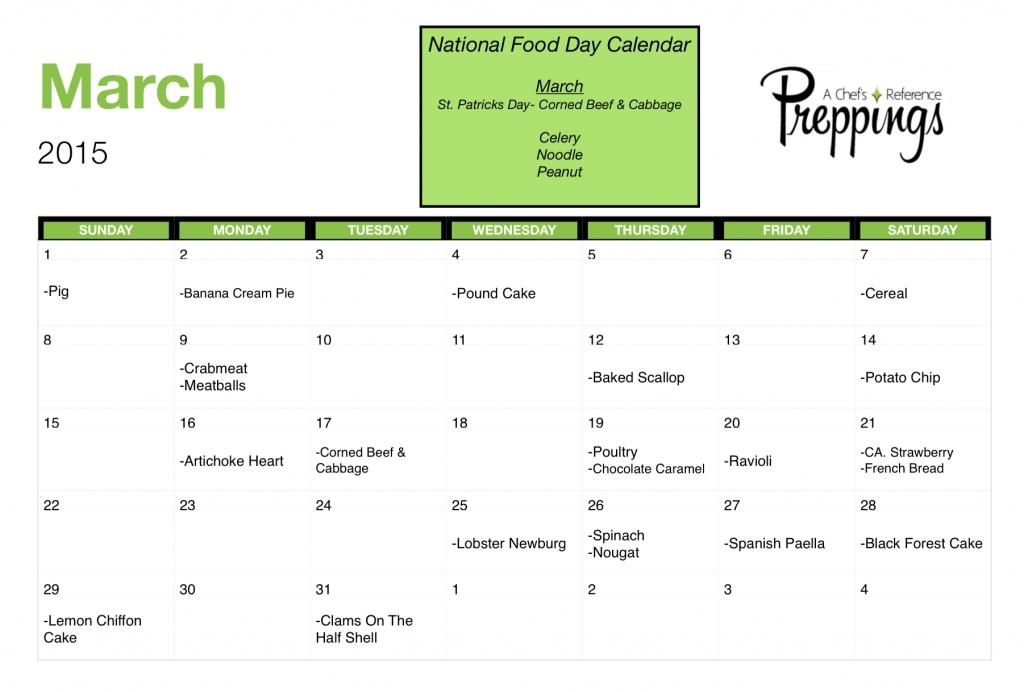 Good National Food Days Calendar