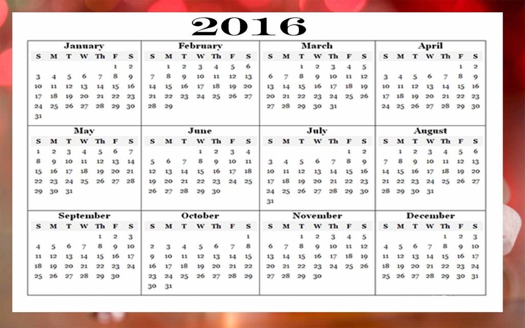Happy Newyear 2016 Calendar