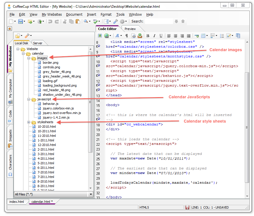 How To Add A Web Calendar To The Html Editor (version 5 0 And