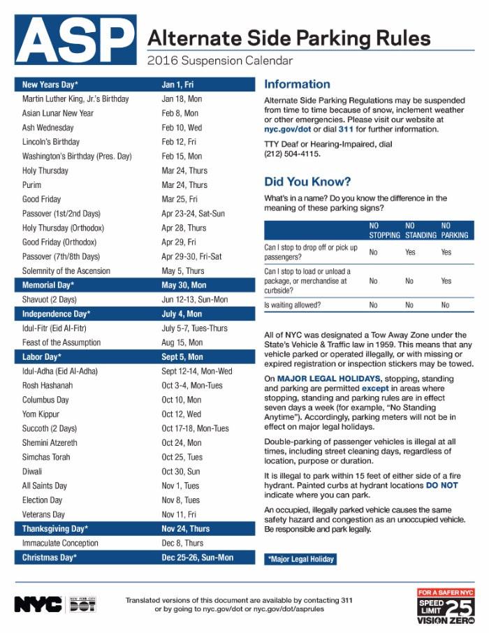 Karmabrooklyn Blog Alternate Side Parking Regulations Calendar 2016
