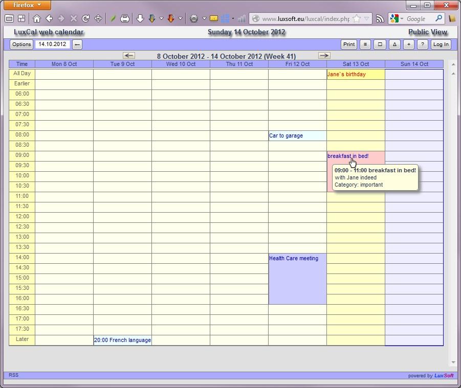 Luxcal Free Web Calendar