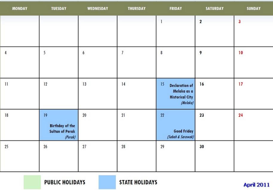 Malaysia Public Holidays 2011 Calendar