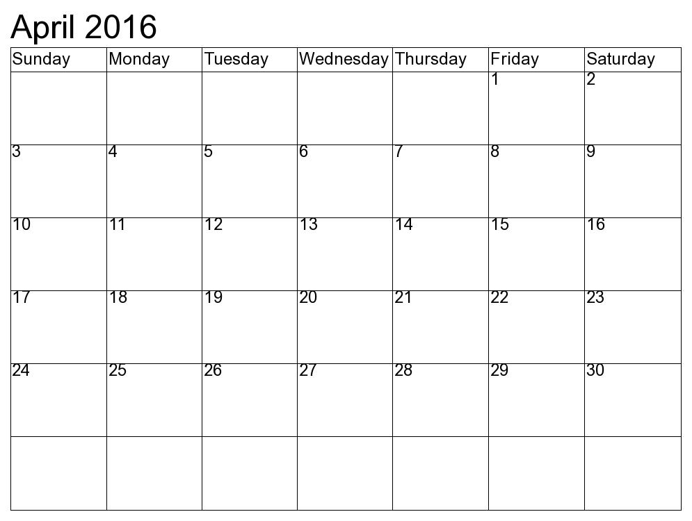 March And April 2016 Calendar Printable