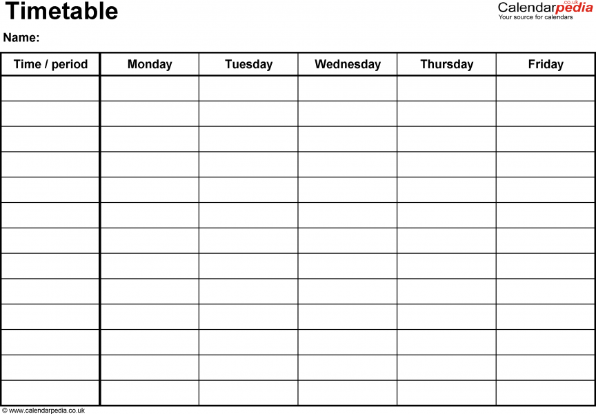 Monday Through Friday Schedule Template 7 Day Schedule Template