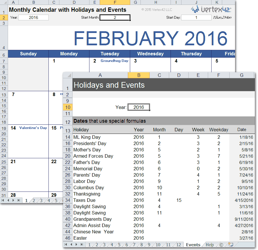 Monthly Calendar With Holidays For Excel