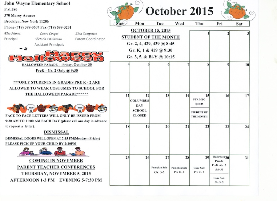 Monthly School Calendar