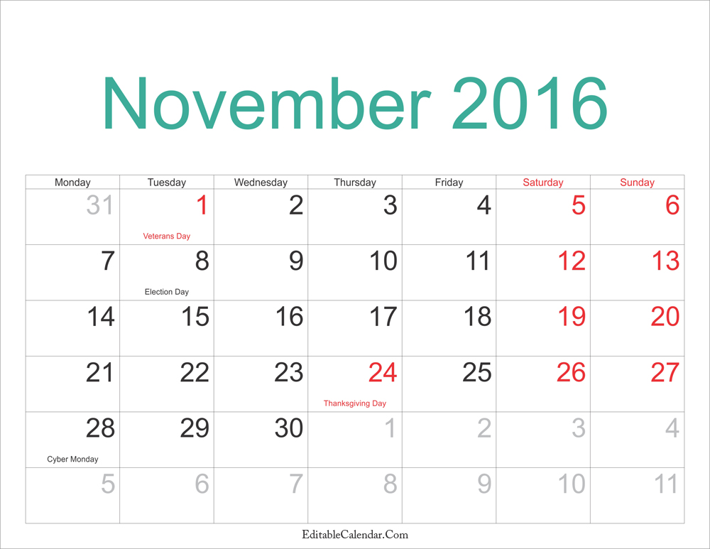 November 2016 Calendar With Holidays Printable