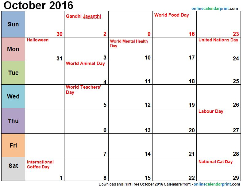 November Calendar 2016 With Holidays