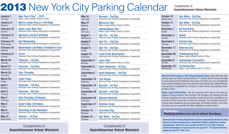 Nyc Parking Calendar 2015