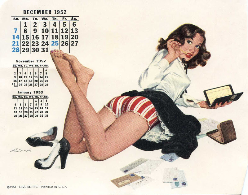 Pinup Girl Calendars Were Mass Produced In The 1940's And 50's