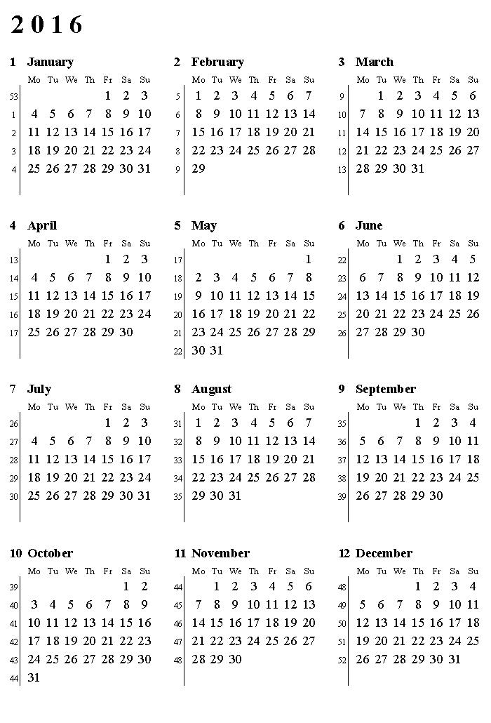 Printable 2016 Calendar With Weeks Numbered Printable