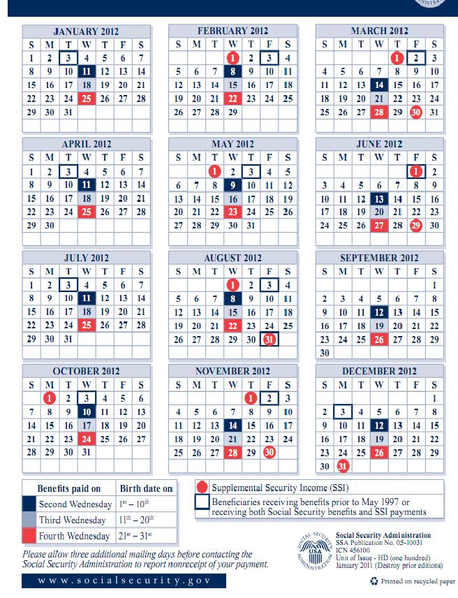 Schedule Of Social Security Payments 2016 Calendar