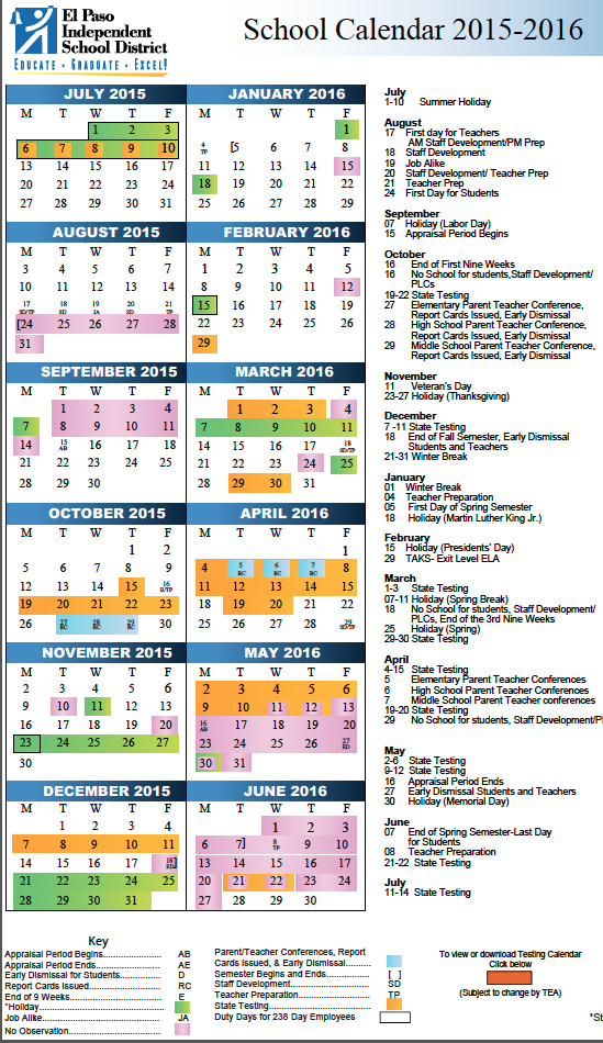 School Calendar Episd