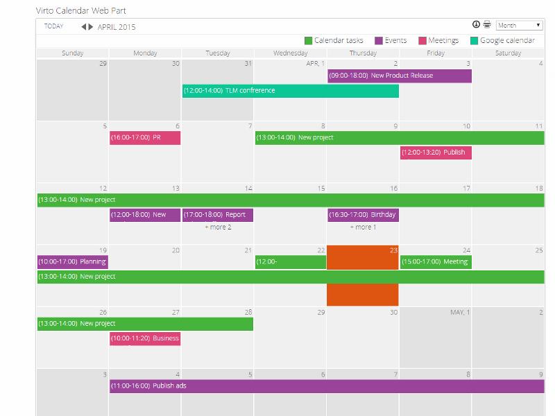 Sharepoint Calendar Web Part
