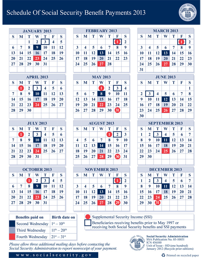 Social Security Disability Benefit Payment Calendar