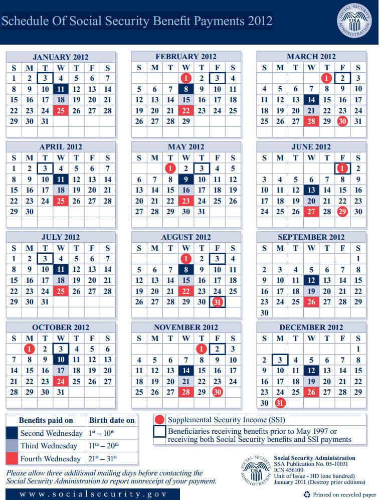Ss Payment Calendar 2016