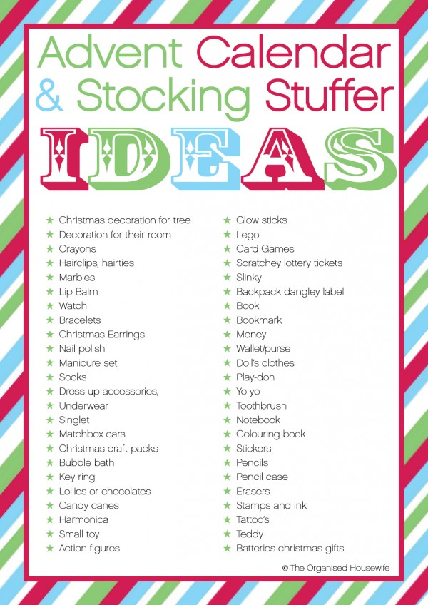 Stocking Stuffers, Advent Calendar And Organised Housewife On