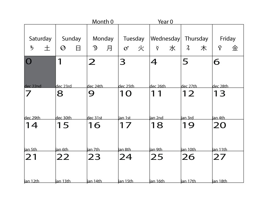Theabysmal Calendar ~ Implementation