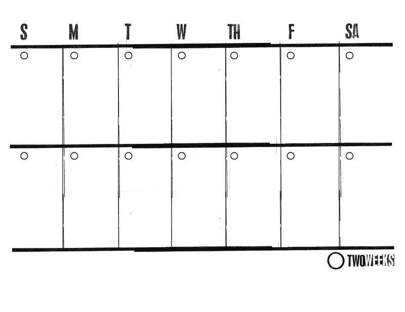 Two Week Calendar Template
