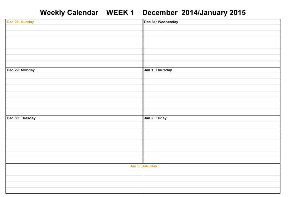 Two Week Calendar Academic Calendar – 3 Week Calendar Template