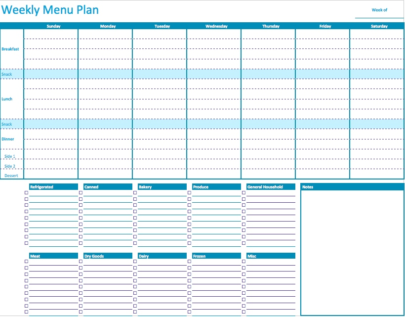 Weekly Menu Planner Template For Numbers