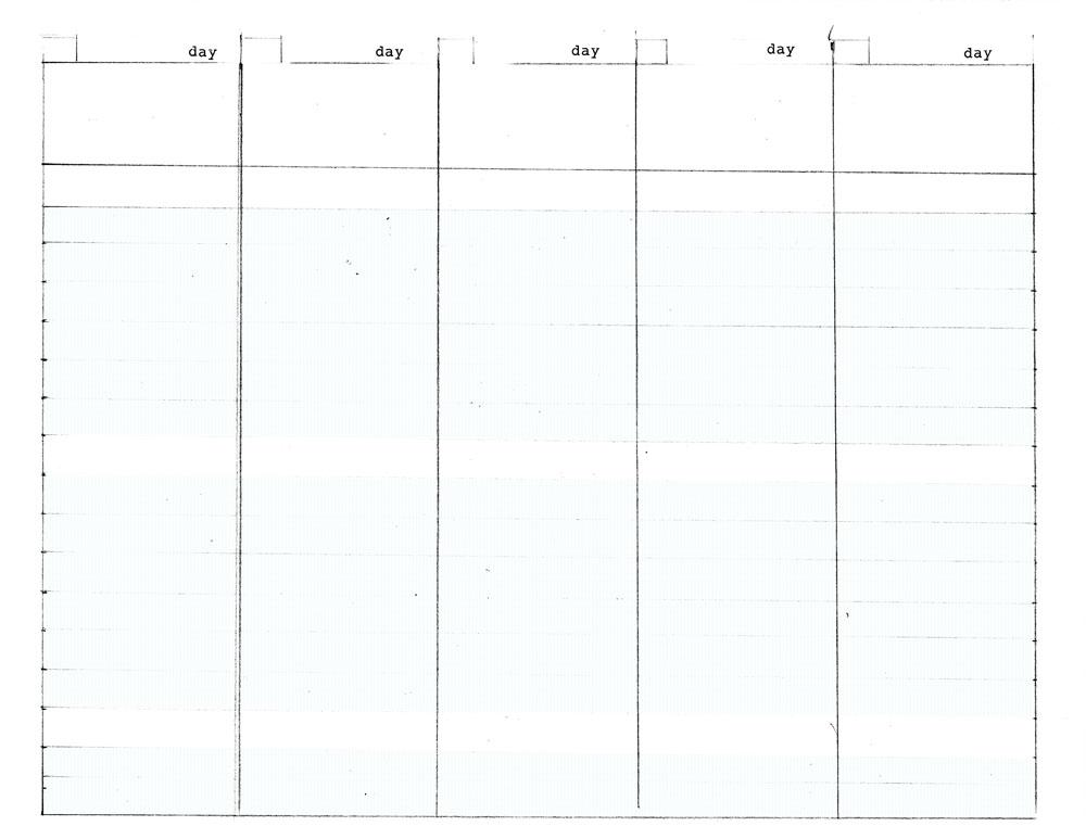 Workweek Calendar Template
