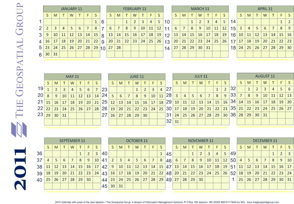 Year Calendar With Numbered Weeks