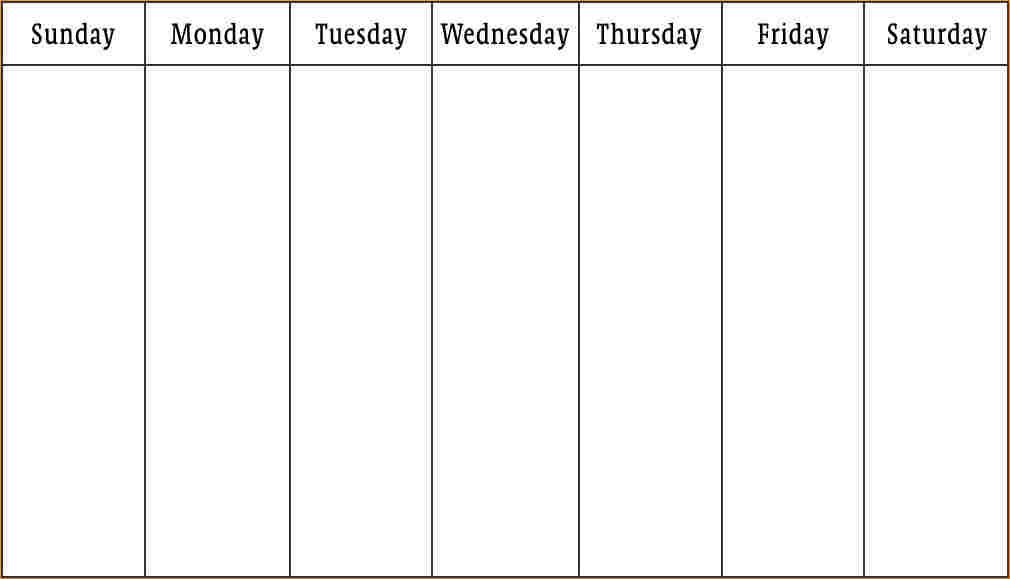 1 Week Calendar Template