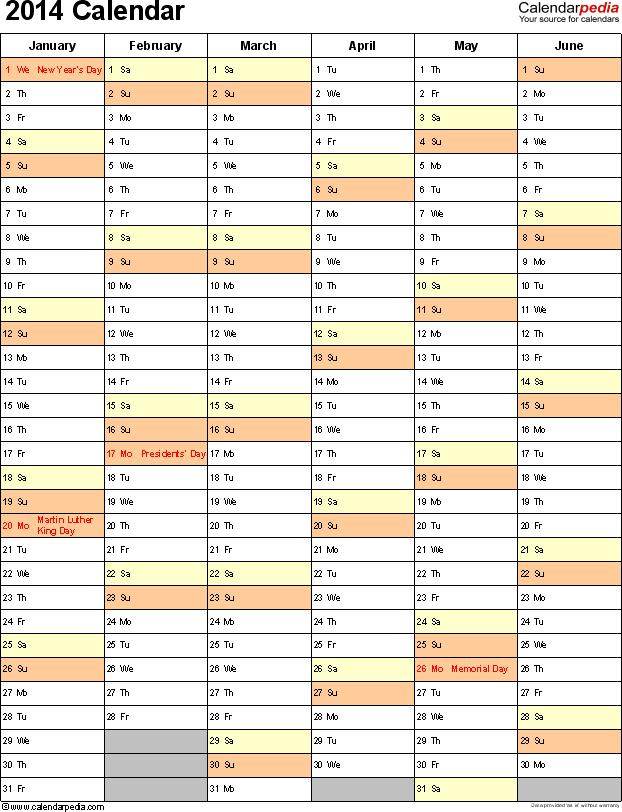 2014 Calendar Excel