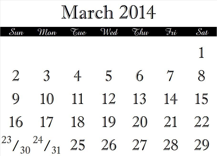 2014 Calendar Month Jpegs