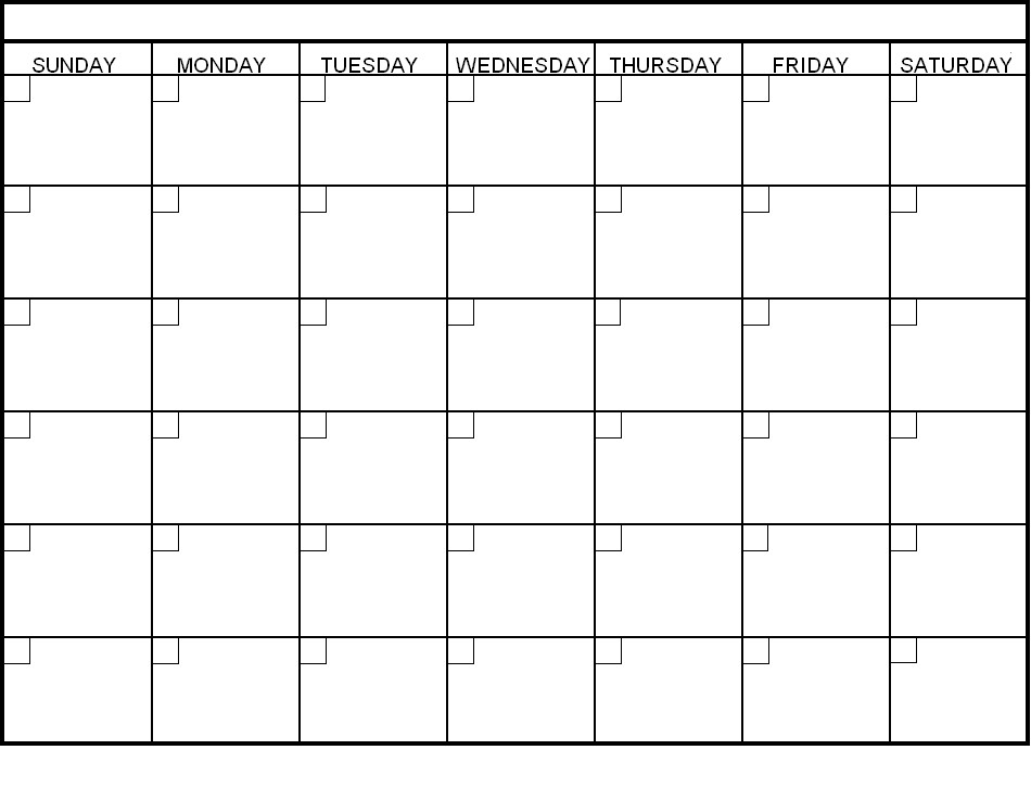 30 Day Calendar Template