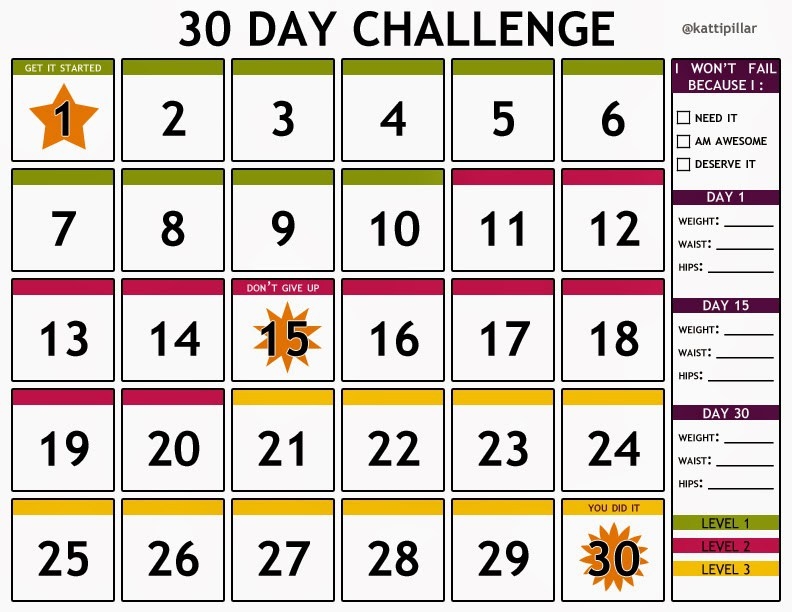 30 Day Calendar Template  Weekly Calendar 2017 For Excel 12 Free