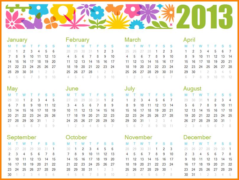 5+ Year Calendar Template