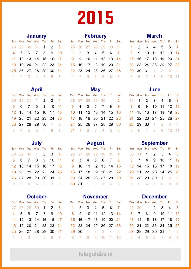 5 Year Calendar Template  Academic Calendars 2015 2016 As Free