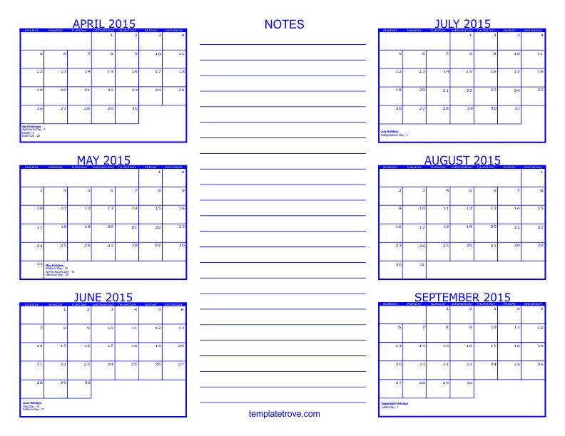 6 Month Calendar Template 187 Calendar Template 2017