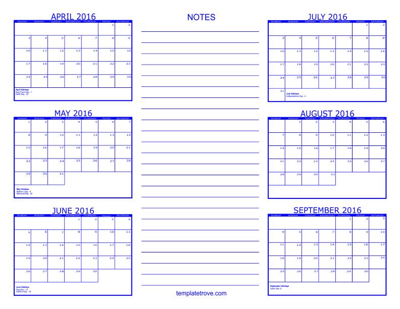 calendar 6 month