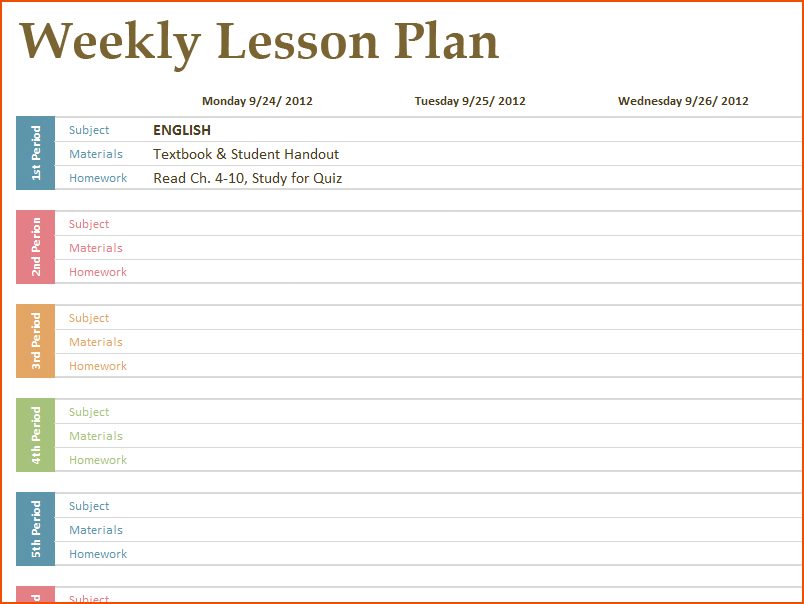 Blank Calendar Lesson Plans : Lesson plan calendar template