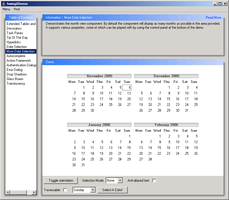 A Panel That Allows The User To Select A Date    Calendar Â« Swing