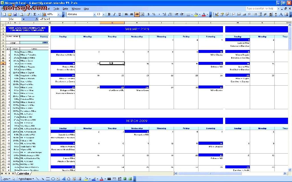 Activity Calendar Template Excel  Officehelp Template 00031