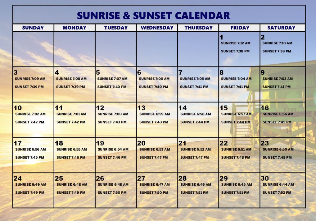 April Sunrise & Sunset Calendar