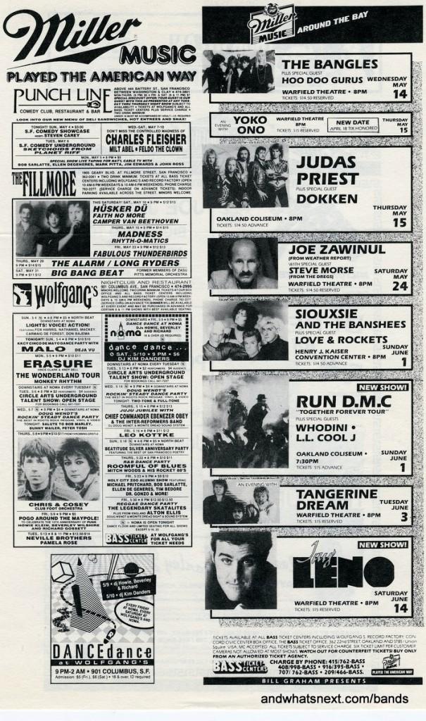 Bay Area Summer Concert Calendar (1986)