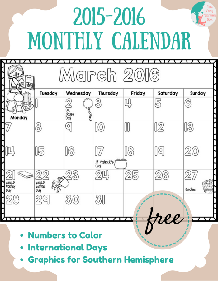 Calendar Day And Month Printables With Children Clipart For