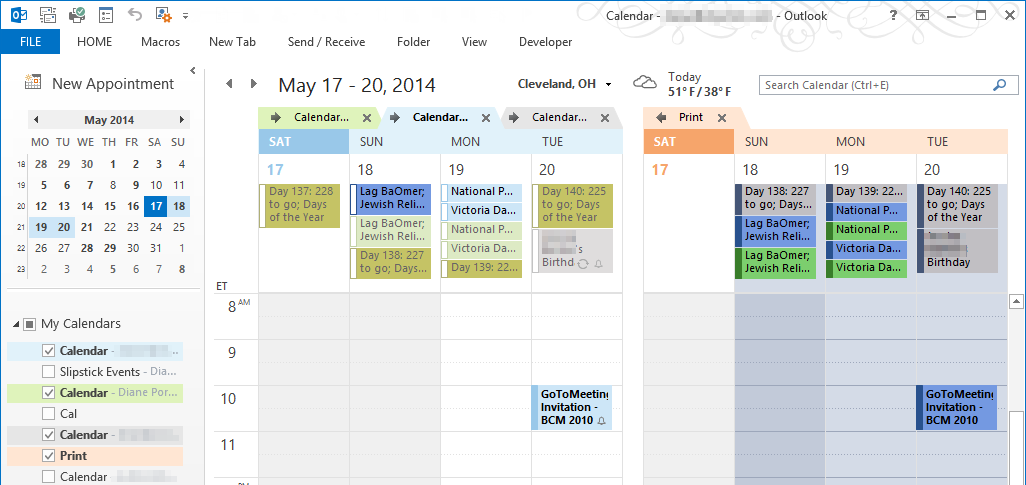 Combine And Print Multiple Outlook Calendars