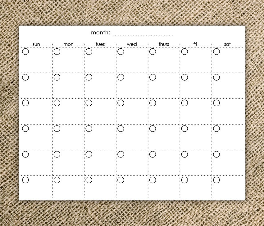 Create Blank Monthly Calendar